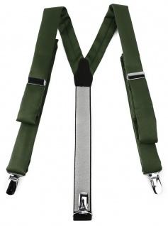schmaler TigerTie Unisex Hosenträger mit 3 extra starken Clips - olivegrün Uni