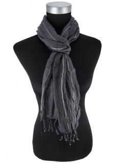 Schal in anthrazit silber gestreift mit kleinen Fransen - Größe 180 x 35 cm