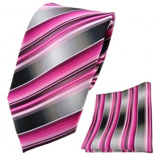 TigerTie Krawatte + Einstecktuch rosa pink magenta anthrazit silber grau - Tuch