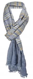 TigerTie Designer Schal in blau grau silber braun gestreift - Gr. 180 x 50 cm