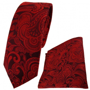 schmale TigerTie Seidenkrawatte + Einstecktuch rot bordeaux Paisley gemustert