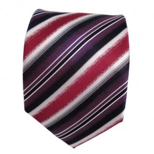 Designer Seidenkrawatte rot lila magenta silber royal gestreift - Krawatte Seide - Vorschau 2