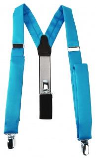 schmaler TigerTie Unisex Hosenträger mit 3 extra starken Clips - in türkis Uni