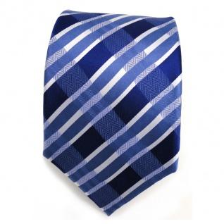 Designer Seidenkrawatte blau signalblau silber gestreift - Krawatte Seide Tie - Vorschau 2