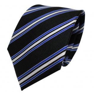 TigerTie Designer Seidenkrawatte schwarz blau silber gestreift