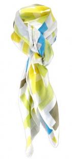Halstuch in grün türkis gelb braun weissgrau gemustert - Tuch Gr. 100 x 100 cm
