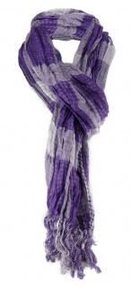 Schal in lila silber kariert mit Fransen - 180 cm x 50 cm - Tuch Baumwolle