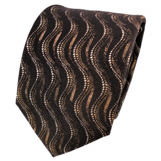 TigerTie Lurex Seidenkrawatte schwarz braun gold silber Wellenmuster - Krawatte