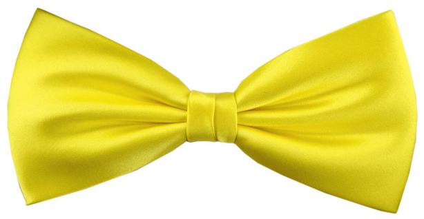 TigerTie Satin Seidenfliege in gelb zitronengelb Uni, Fliege 100% reine Seide