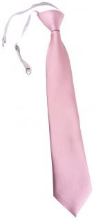 TigerTie Kinderkrawatte zartrosa Uni - Krawatte vorgebunden mit Gummizug