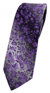 schmale TigerTie Designer Krawatte lila dunkellila grausilber geblümt gemustert