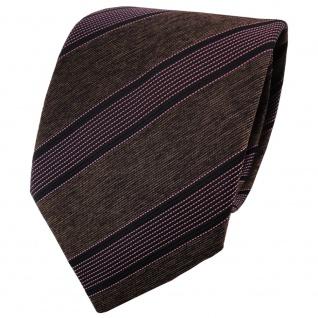 TigerTie Krawatte braun dunkelbraun rosa rosé schwarz gestreift - Binder Schlips