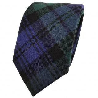 Designer Wollkrawatte blau marine grün schwarz kariert - Krawatte Wolle wool