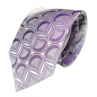 Seidenkrawatte lila violett weiss gestreift Muster - Krawatte 100 % Seide Silk
