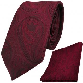 Moderne TigerTie Krawatte + Einstecktuch rot weinrot schwarz paisley Muster - Vorschau