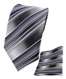 TigerTie Seidenkrawatte + Einstecktuch grau silber anthrazit hellgrau gestreift