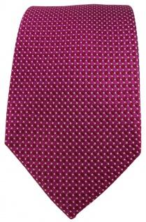 TigerTie Seidenkrawatte in magenta silber gepunktet - Krawatte 100% reine Seide - Vorschau 2