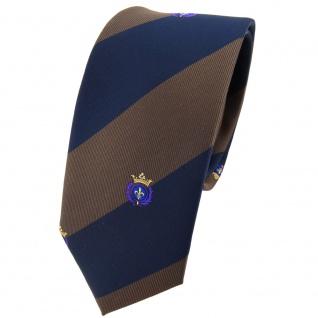 Schmale TigerTie Krawatte braun dunkelbraun dunkelblau gestreift Wappen - Binder
