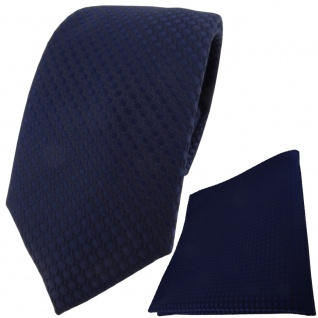 TigerTie Krawatte + Einstecktuch in marine dunkelblau gepunktet