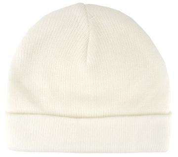 feine Wollmütze in creme weiss Uni - Damen Mütze Gr. M - Wintermütze Strickmütze