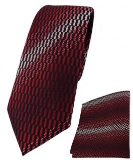 schmale TigerTie Krawatte + Einstecktuch rot weinrot schwarz grau gemustert