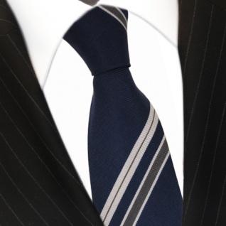 feine leichte Seidenkrawatte dunkelblau grau gestreift - Krawatte 100% Seide
