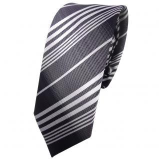 Schmale TigerTie Krawatte anthrazit schwarz silber grau gestreift - Tie Binder