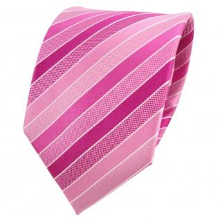 TigerTie Designer Seidenkrawatte rosa hellrosa pink weiß gestreift