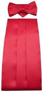TigerTie Kummerbund Einstecktuch Fliege in Rot Polyester - Schärpe Leibbinde