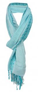 Schal in mint türkis grau kariert mit kleinen Fransen - Gr. 180 x 50 cm