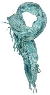 TigerTie Halstuch in türkis mint gemustert mit Fransen - Gr. 90 cm x 90 cm