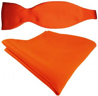 Selbstbinder + TigerTie Satin Einstecktuch in Uni orange - 100% reine Seide
