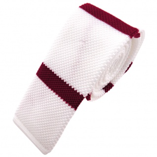 Schmale Strickkrawatte weiß rot dunkelrot gestreift - Krawatte Polyester Tie