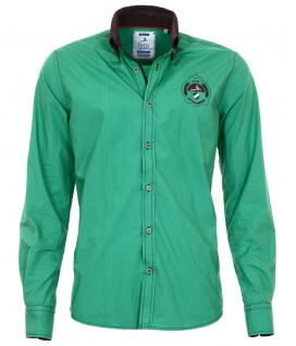Pontto Designer Hemd Shirt in grün braun dunkelbraun langarm Modern-Fit Gr. 4XL