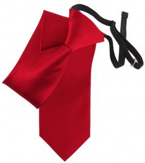 TigerTie Security Seidenkrawatte in verkehrsrot rot Uni - Gummizug in schwarz