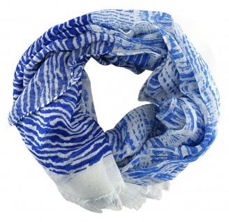 TigerTie Schal in blau weiß gemustert mit kleinen Fransen - Größe 180 x 50 cm