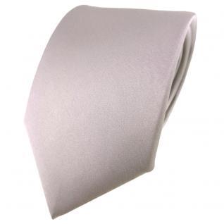 TigerTie Satin Seidenkrawatte grau silber einfarbig Uni - Krawatte 100% Seide