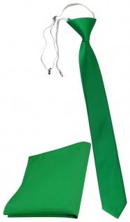 XXL TigerTie Sicherheits Krawatte + Einstecktuch in grün leuchtgrün Uni Rips