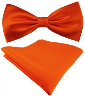 Seidenfliege + TigerTie Satin Einstecktuch in Uni orange - 100% reine Seide