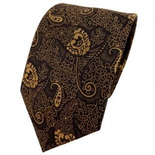 TigerTie Krawatte gold bronze schwarz Paisley - Binder Tie Polyester