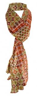 Schal in orange grün grau schwarz gemustert - Gr. 180 x 50 cm - 100% Baumwolle
