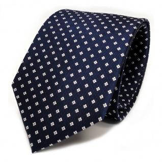 TigerTie Designer Seidenkrawatte blau royalblau dunkelblau weiss gepunktet - Vorschau 1