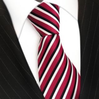 TigerTie Designer Krawatte - Schlips Binder rot schwarz weiss gestreift - Tie - Vorschau 3