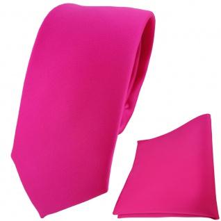 schmale TigerTie Krawatte + Einstecktuch pink rosa einfarbig Uni
