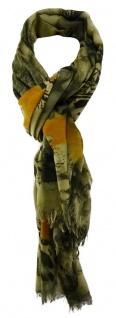TigerTie Designer Schal in olivegrün orange gemustert
