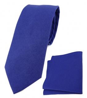 TigerTie Krawatte + Einstecktuch aus 100% Baumwolle in royal Unicolor einfarbig