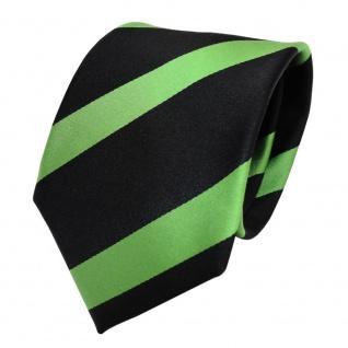 TigerTie Designer Seidenkrawatte grün maigrün schwarz gestreift - Krawatte Seide - Vorschau 2