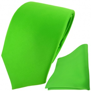 TigerTie Designer Krawatte + Einstecktuch grün giftgrün leuchtgrün einfarbig Uni