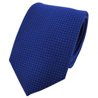 Satin Seidenkrawatte blau kobaltblau schwarz gepunktet - Krawatte Seide Tie