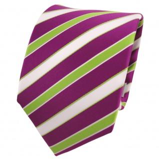 TigerTie Designer Krawatte magenta fuchsia grün weiß gestreift - Schlips Binder
